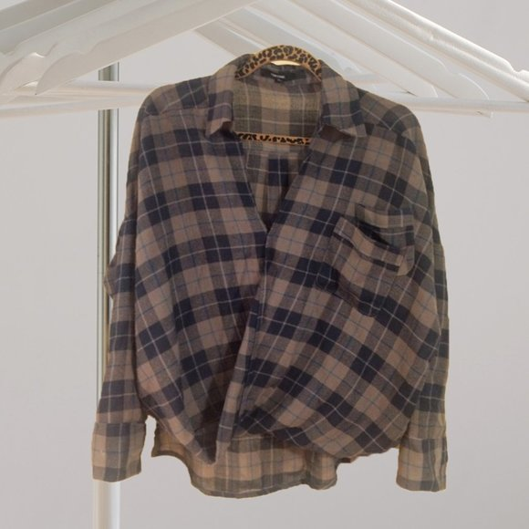 Funktional Tops - Plaid 100% Wool Blouse